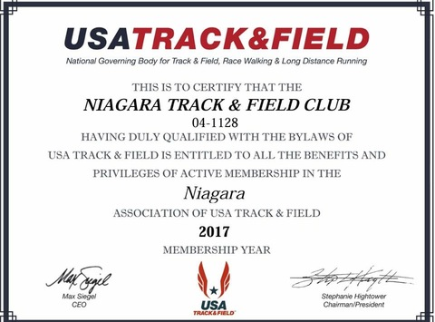 track and field fundraising - Niagara Falls Track and Field Club